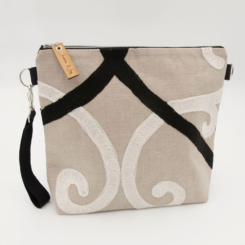 Bag 28 - Reclaimed Fabric Project Bag embroidered black and white swirls