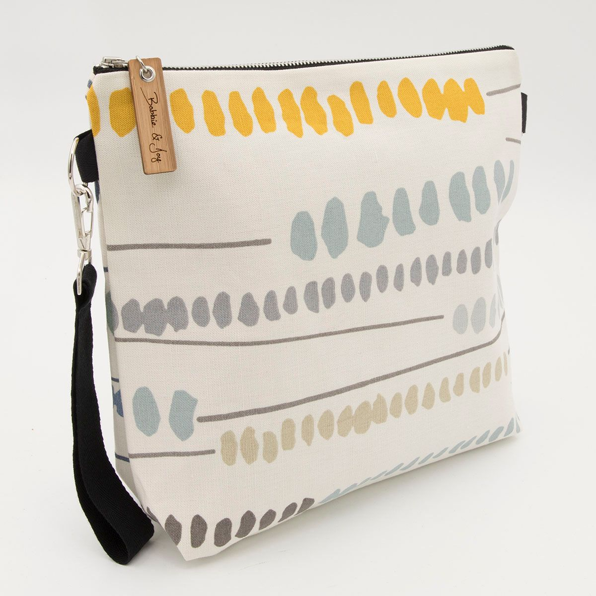 Bag 9 dots and lines yellow reclaimed fabric project bag wrist strap view 1