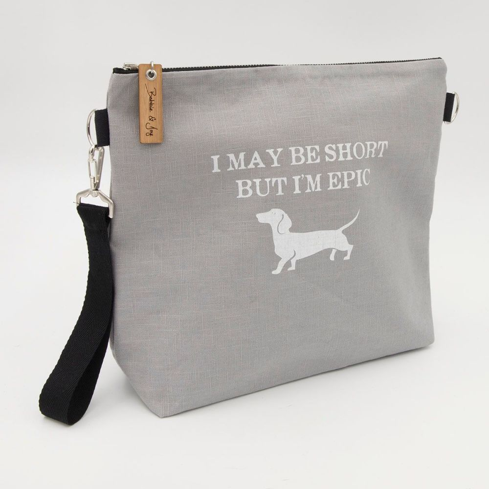 short but epic dachshund silver linen screen print project bag wrist strap