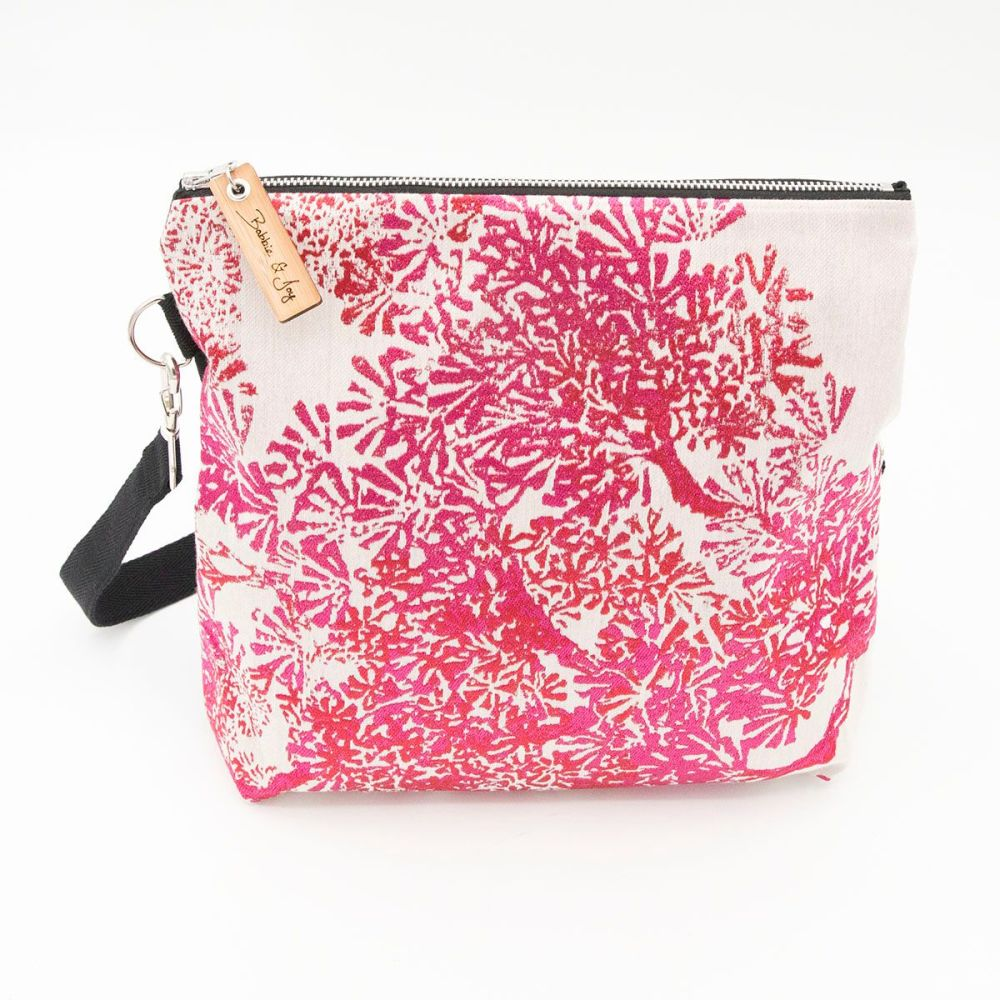 Small Bag 11 - Reclaimed Fabric Project Bag Pink Floral design