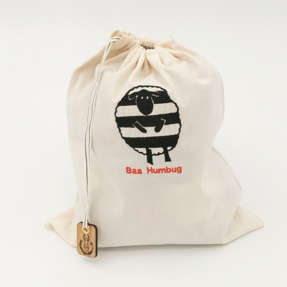 baa humbug embroidered organic fairtrade cotton drawstring bag
