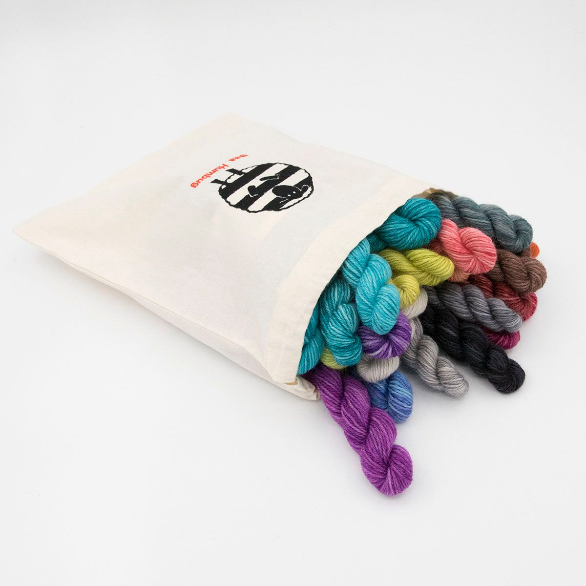 lucky dip mini skeins in baa humbug embroidered cotton drawstring bag