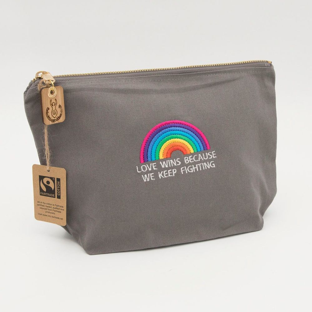 rainbow embroidered cotton zip pouch project bag
