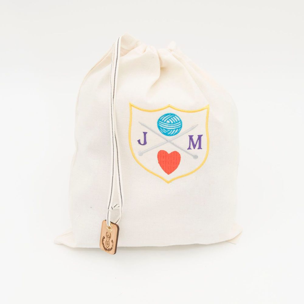 Personalised embroidered draw string project bag - Knitting Royalty