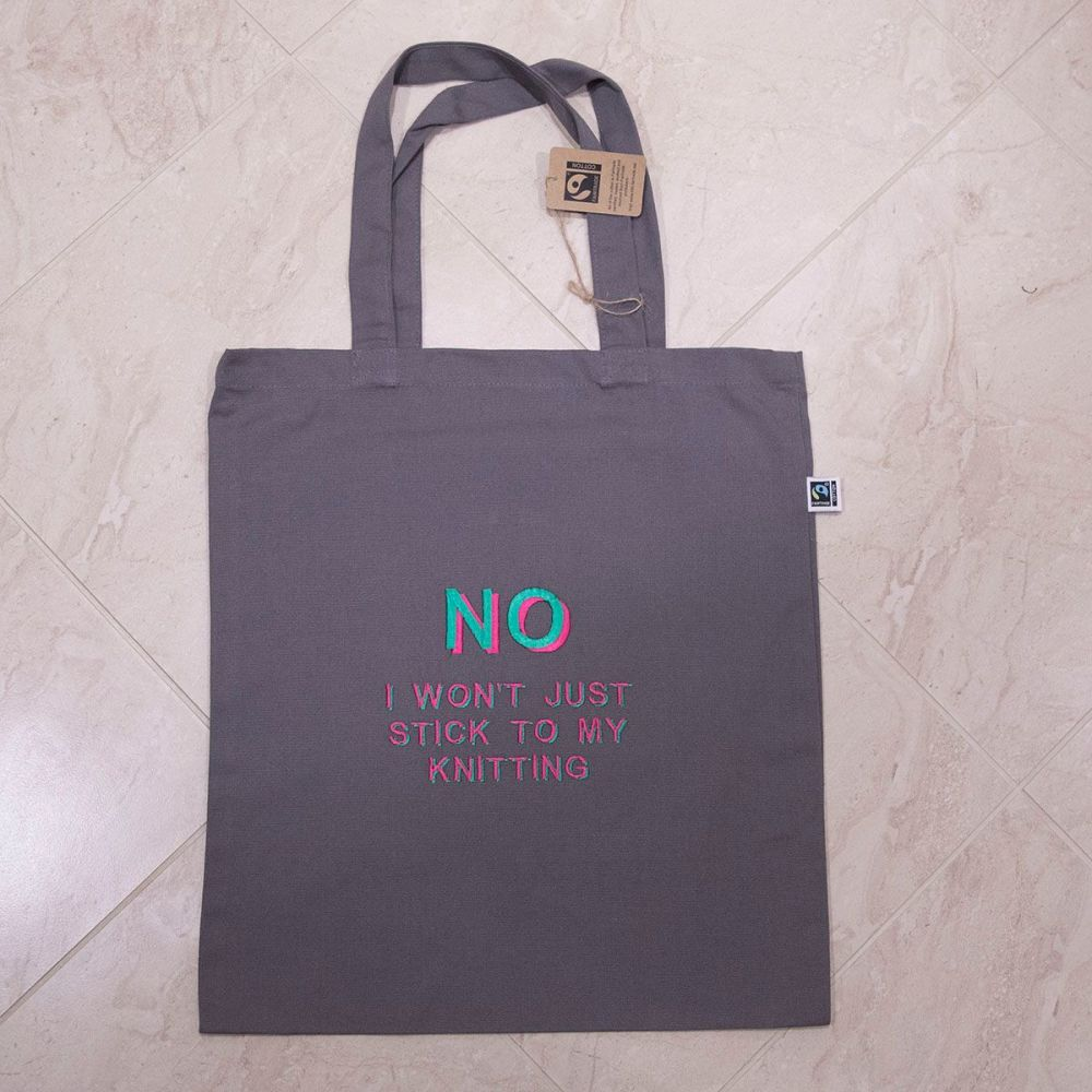 I KNIT SO I DON'T KILL PEOPLE tote bag - green and pink