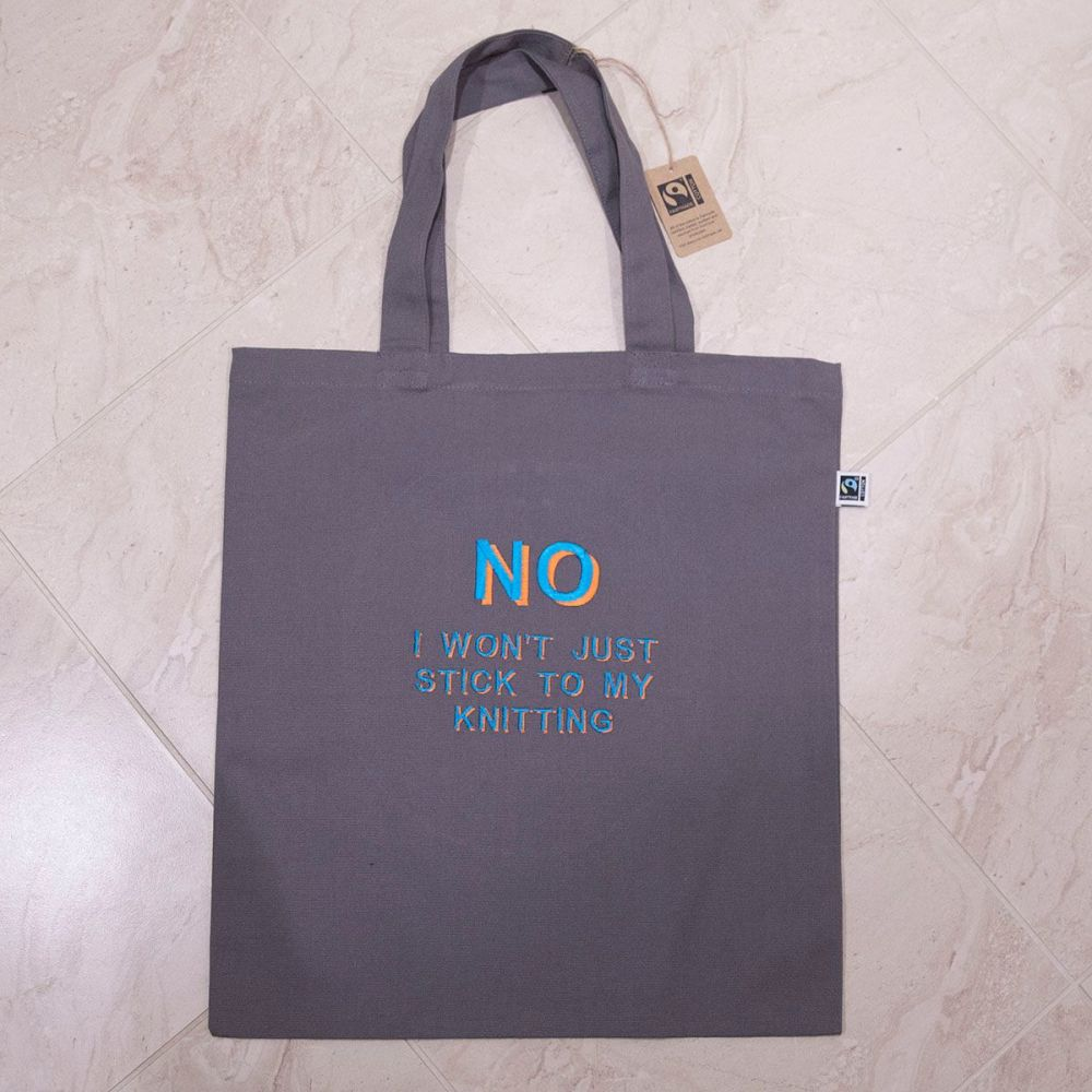 I KNIT SO I DON'T KILL PEOPLE tote bag - orange and turquoise