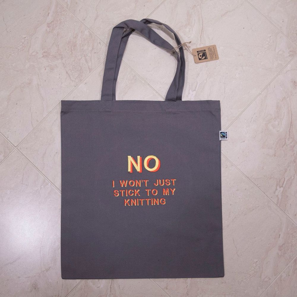 I KNIT SO I DON'T KILL PEOPLE tote bag - red and yellow