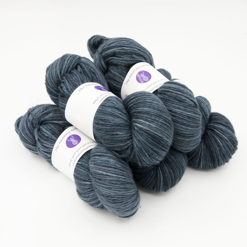 midnight hand dyed British wool DK weight BFL 5 skeins