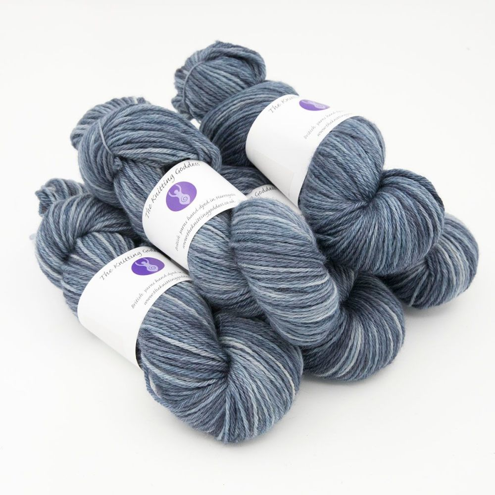 navy hand dyed British wool DK weight BFL 5 skeins