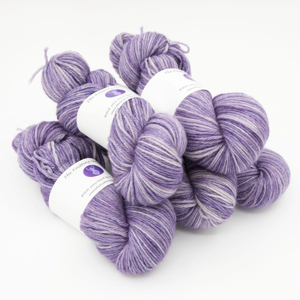 violet hand dyed British wool DK weight BFL 5 skeins