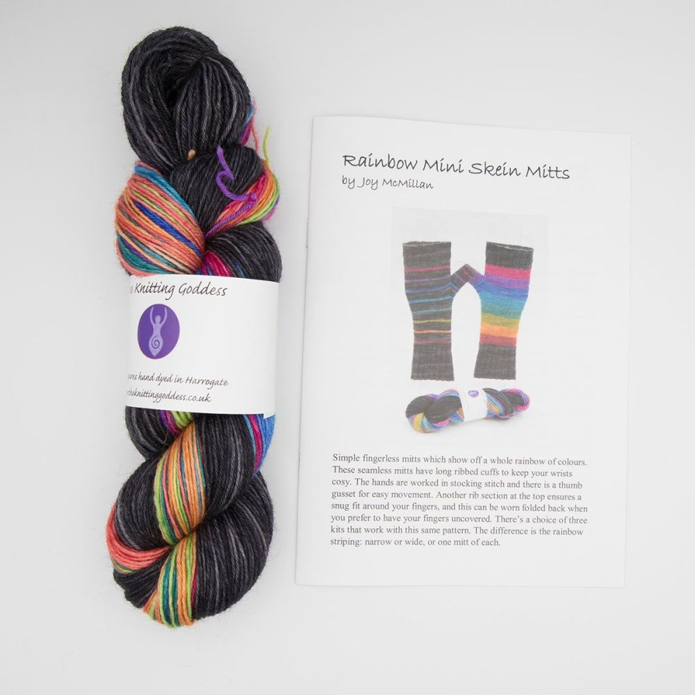 Fingerless Mitt Kit - Wonky Rainbow Mixed Stripes and Coal
