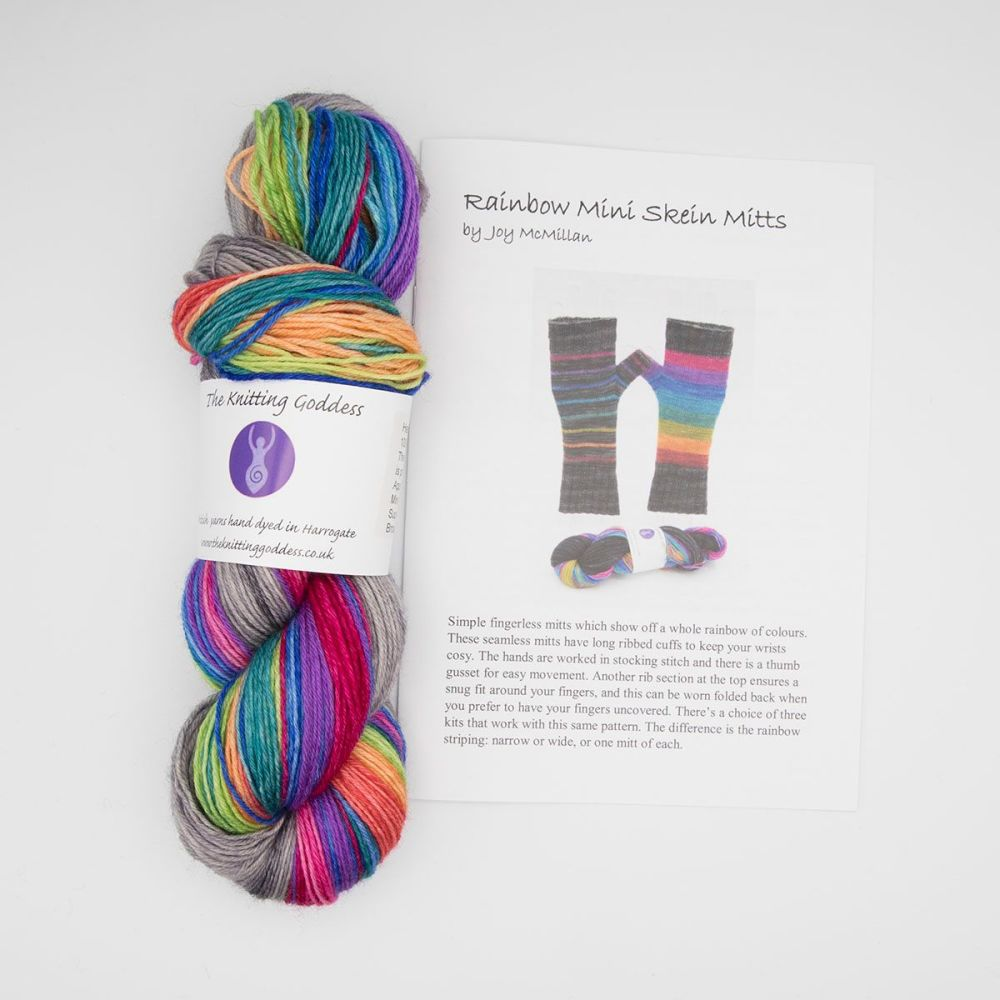 Fingerless Mitt Kit - Wonky Rainbow Wide Stripes and Silver