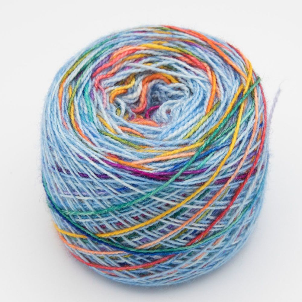 Self striping Sock Yarn - Rainbow on a Blue Sky