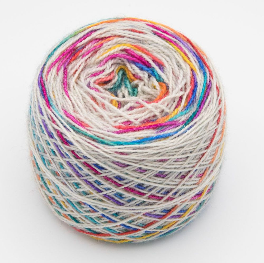Self striping Sock Yarn - Rainbow on Silver