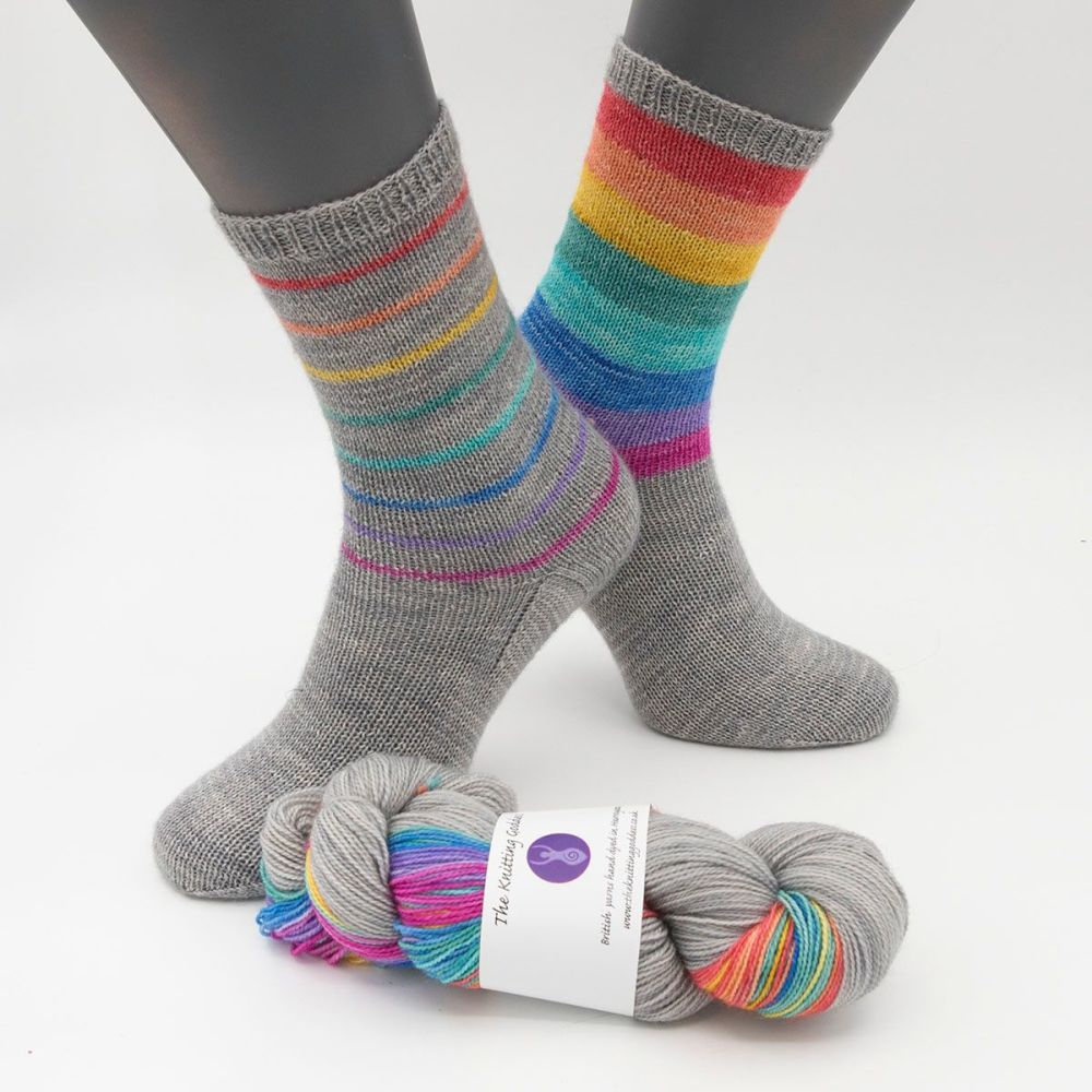 Simple Socks Kit - Mixed Rainbow Stripes and Silver