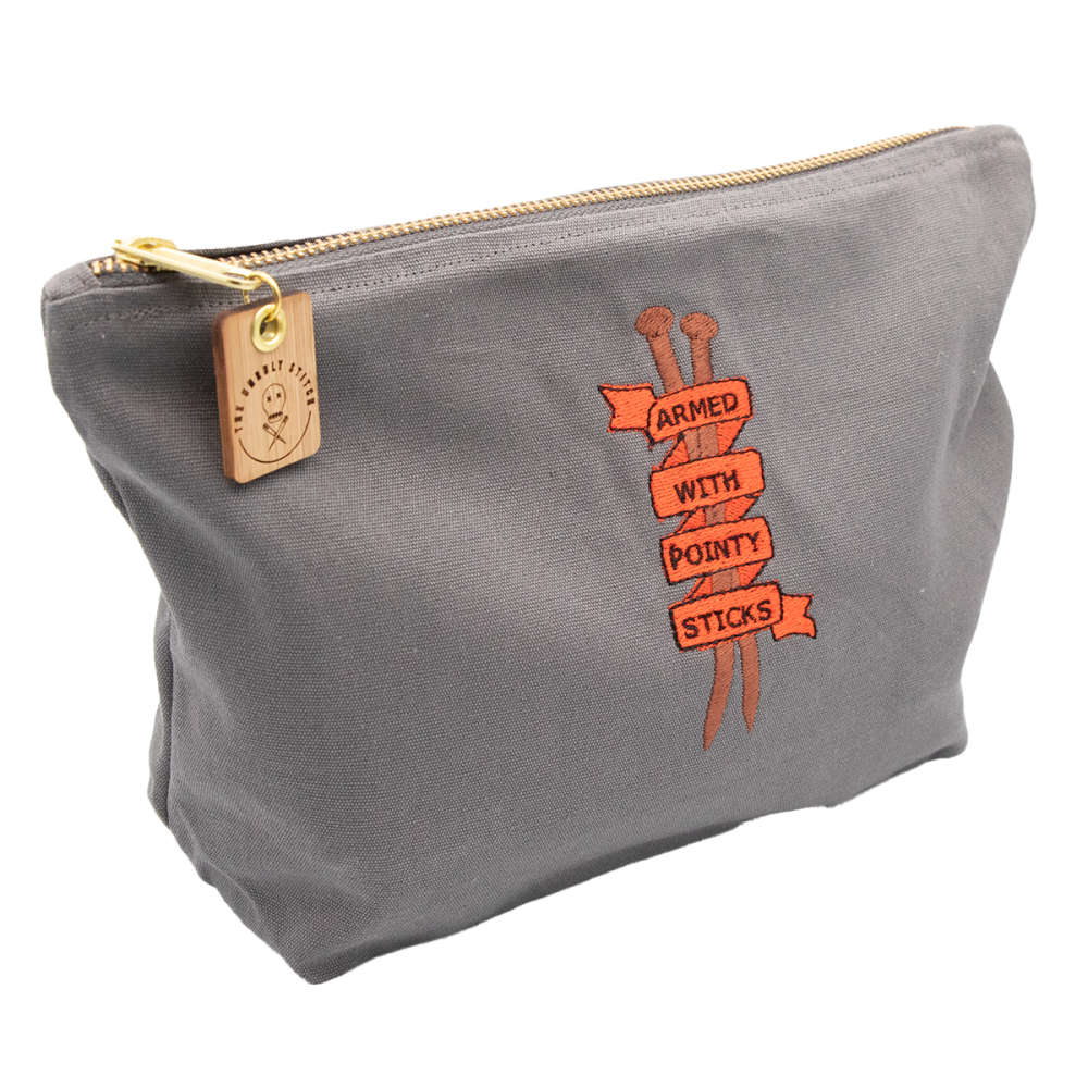 Armed With Pointy Sticks Embroidered Zipped Cotton Pouch