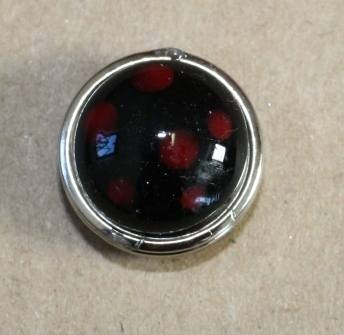 Black with red dots glass popper