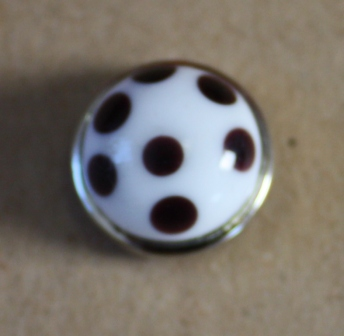 White with black dots glass popper