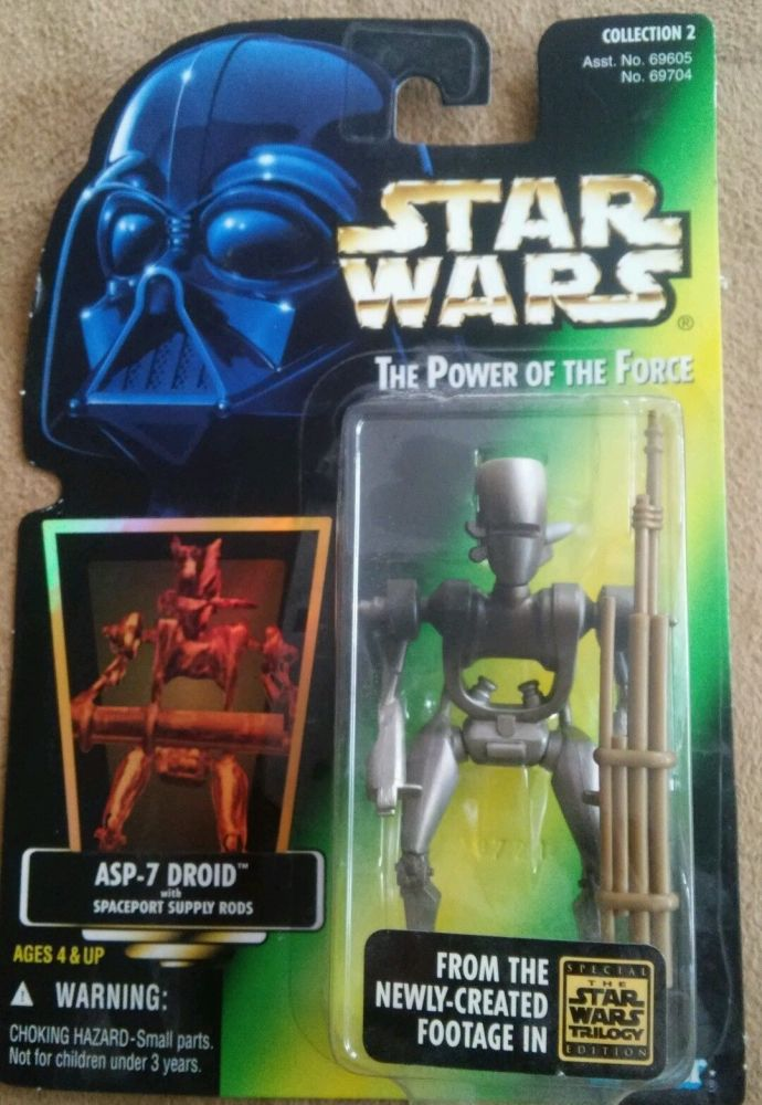 28/ KENNER / ASP-7 DROID / POWER OF THE FORCE 2 GREEN CARD H/G