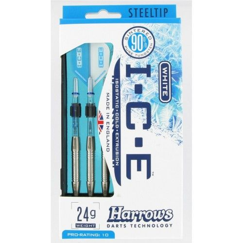 Harrows Ring Style ICE White 90% Tungsten Darts 24grms      Steel tip