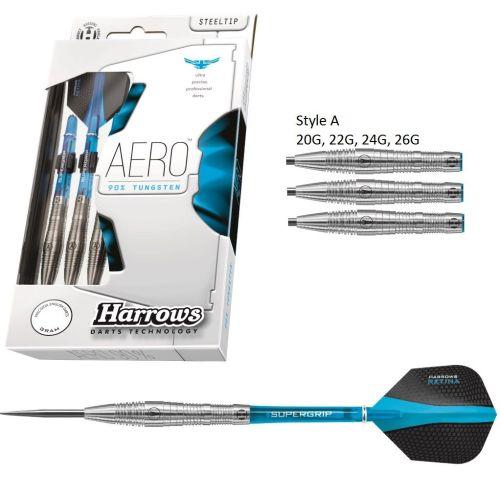 Harrows Aero Style A 90% Tungsten Steel Tip  Darts 22 grms