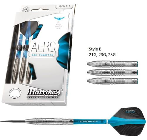 Harrows Aero Style B 90% Tungsten Steel Tip  Darts 25 grms