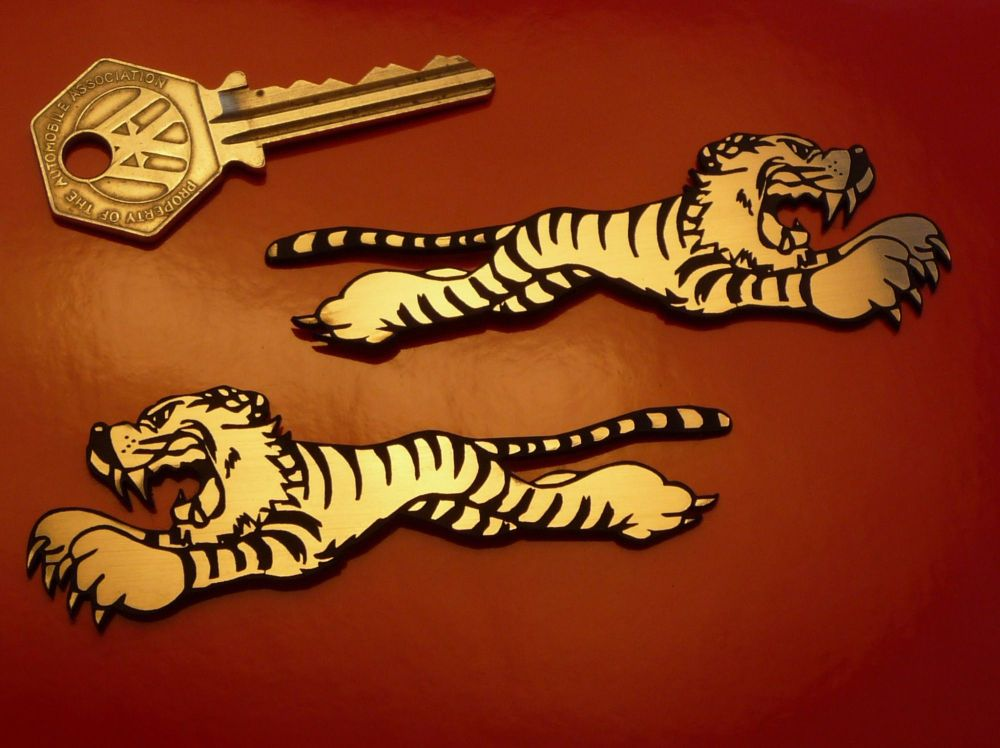 "Leaping Tigers Style Laser Cut Self Adhesive Car or Bike Badges. 3.5"" Pair."