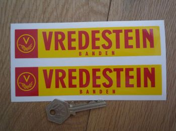 "Vredestein Banden Red & Yellow Oblong Stickers. 6"" Pair."