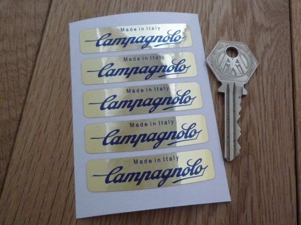 "Campagnolo Made In Italy Wheel Stickers Set of 5. Dark Blue on Gold Foil. 2.25""."