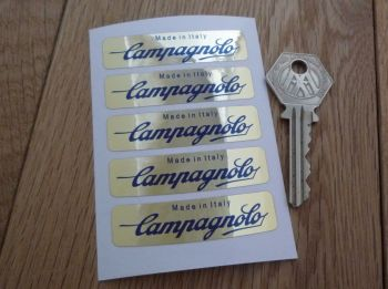 "Campagnolo Made In Italy Wheel Stickers Set of 5. Dark Blue & Gold Foil. 2.25""."