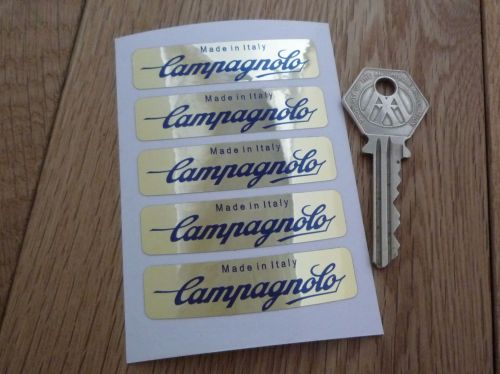 Campagnolo Made In Italy Wheel Stickers Set of 5. Black & Gold Foil. 2.25
