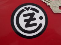 CZ Black & White Round Motorcycle Stickers. 2.5
