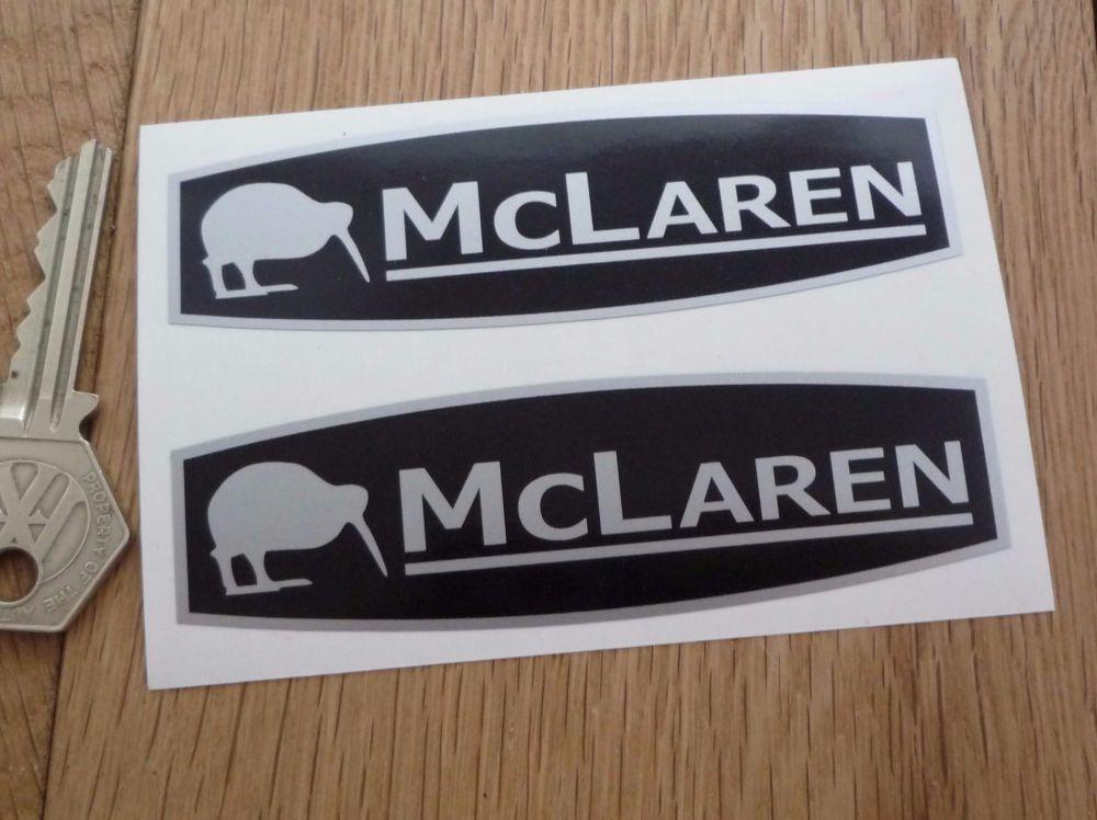 "McLaren Black & Silver Stickers. 4"" Pair."