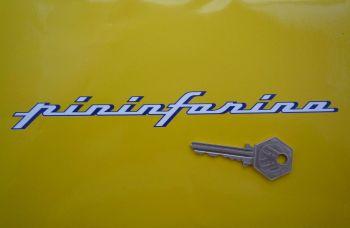 "Pininfarina Blue & White Cut Vinyl Text Stickers. 8"" Pair."