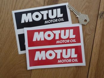 "Motul Motor Oil White On Red/Black Oblong Stickers. 5"" Pair."