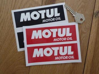 """Motul Motor Oil White On Red/Black Oblong Stickers. 5"""" Pair."""
