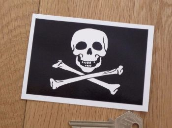 "Skull & Crossbones Oblong Sticker. 3"" or 4""."
