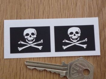 "Skull & Crossbones Oblong Stickers. 1.5"" Pair."
