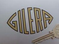 "Gilera Gold & Black Cut Text Shaped Sticker. 3""."