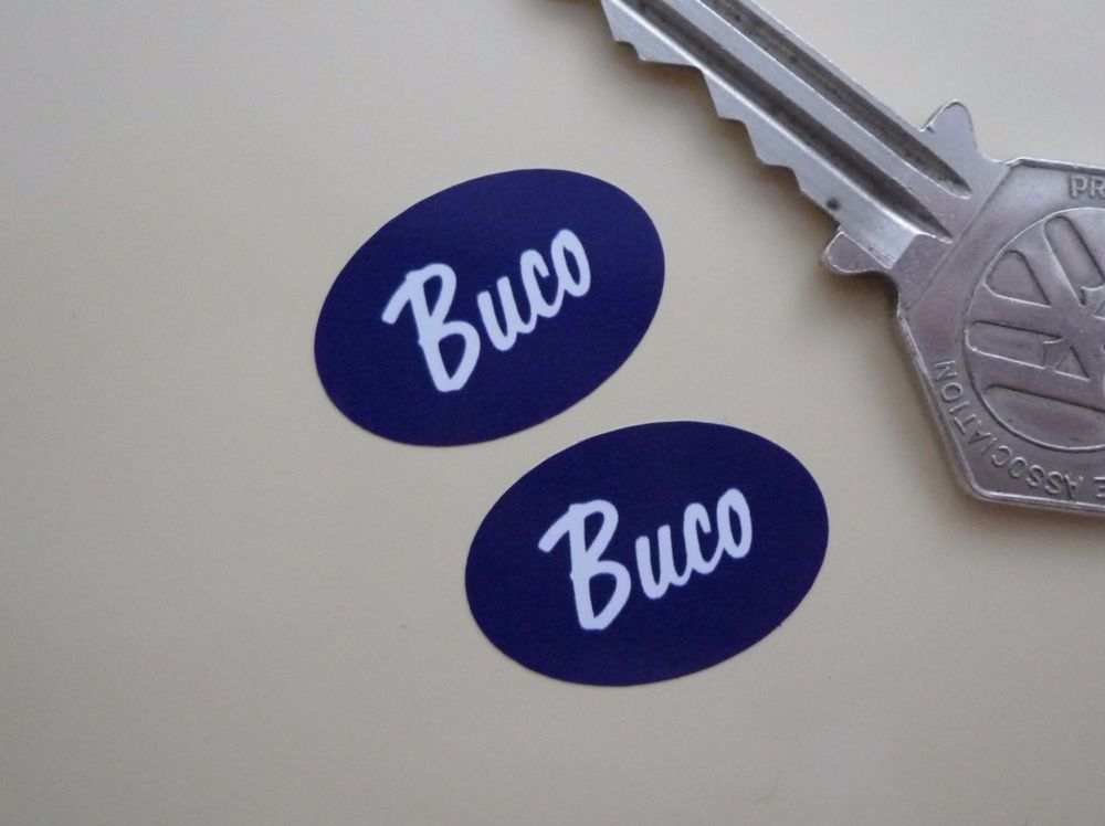 Buco Helmets Blue & White Oval Stickers. Style 3. 1