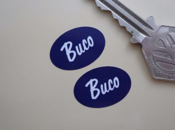 "Buco Helmets Blue & White Oval Stickers. Style 1. 1"" Pair."