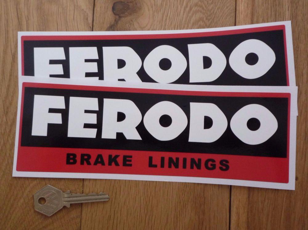 """Ferodo 'Brake Linings' Style 7 Oblong Stickers. 9"""" Pair."""