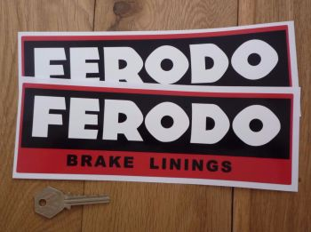 "Ferodo 'Brake Linings' Style 7 Oblong Stickers. 9"" Pair."