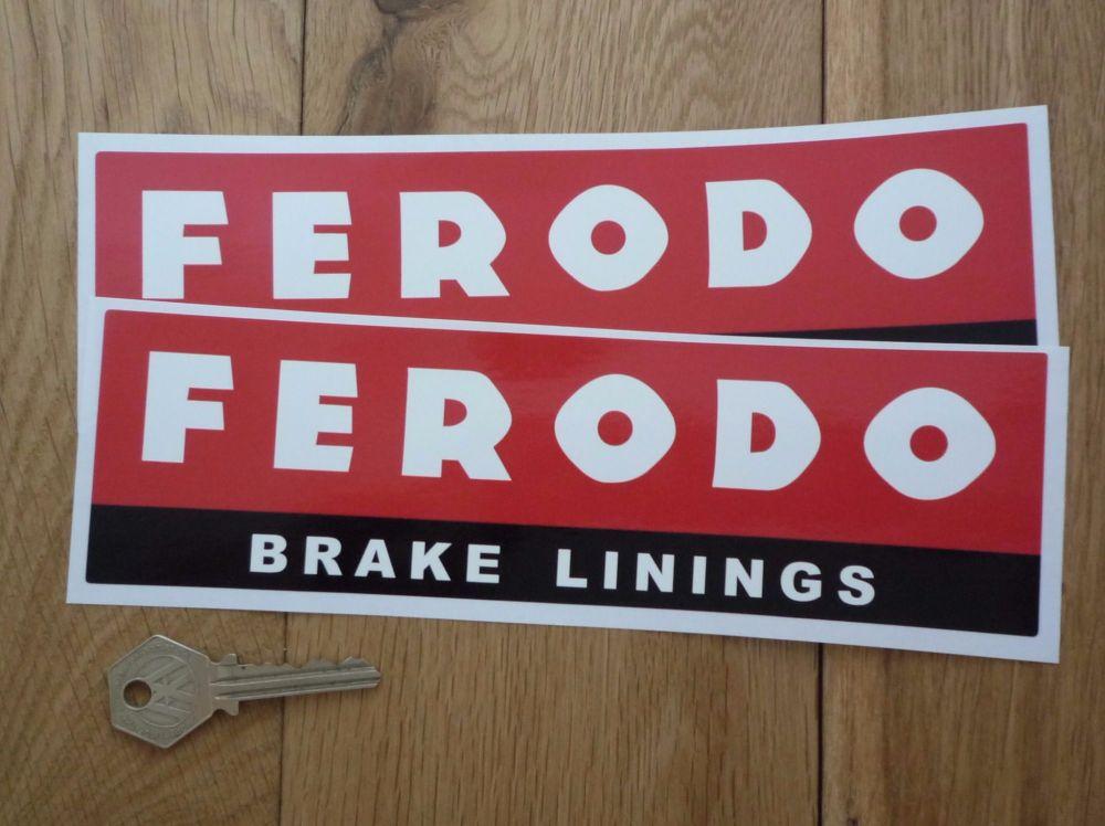 """Ferodo 'Brake Linings' Style 6 Oblong Stickers. 8.75"""" Pair."""