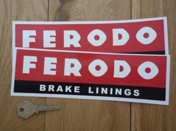 "Ferodo 'Brake Linings' Style 6 Oblong Stickers. 8.75"" Pair."