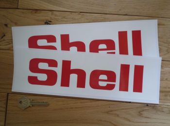 """Shell Red on White Angular Text Wide Surround Stickers. 11.5"""" Pair."""