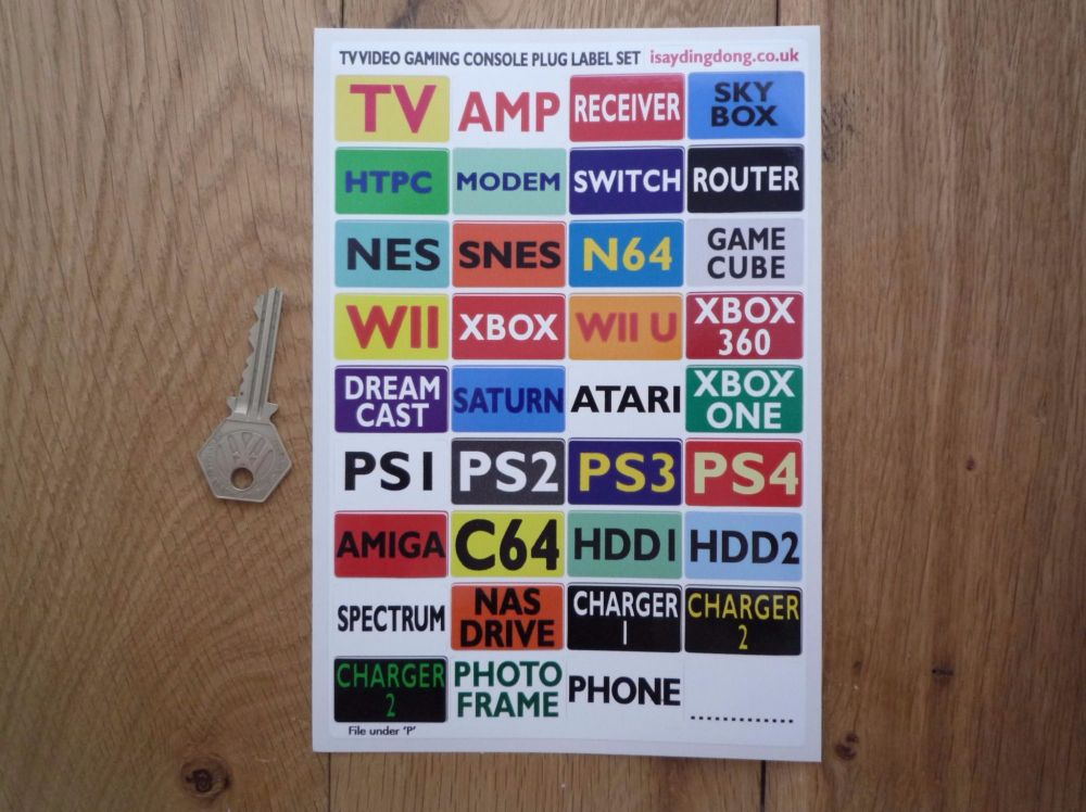 Gamers Plug Labels. TV Video Gaming Consoles. Help Identify Which Plug's Which. A5. Set of 36.