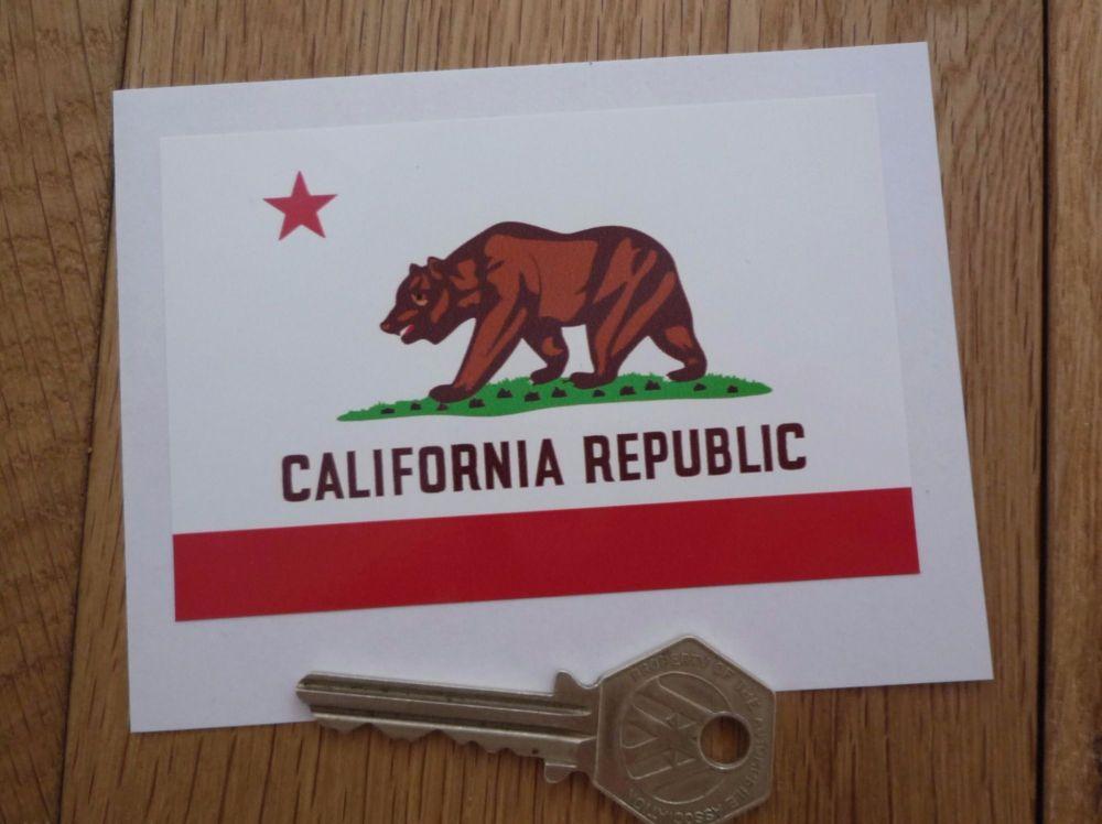 "California Republic Flag Sticker. 4""."