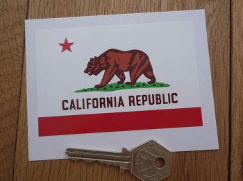 "California Republic Flag Sticker. 4""."