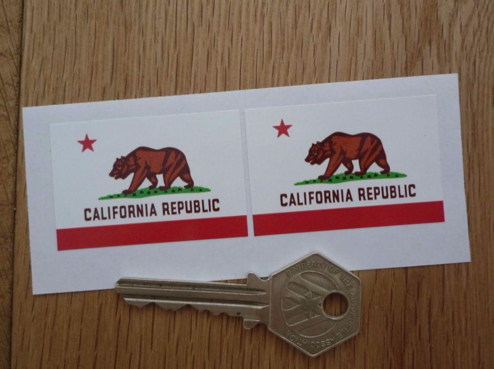 """California Republic Flag Stickers. 2"""" Pair."""